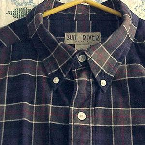 SUN RIVER KHAKIS BLUE OLIVE Plaid COTTON shirt XXL